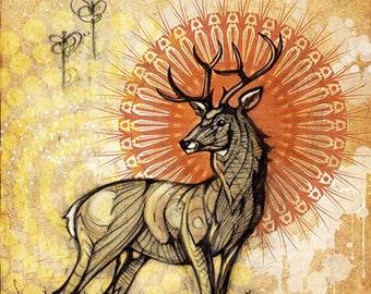 Stag - Art Prints by Simon Haiduk. Totem Animal Stag Inspired Visionary Art