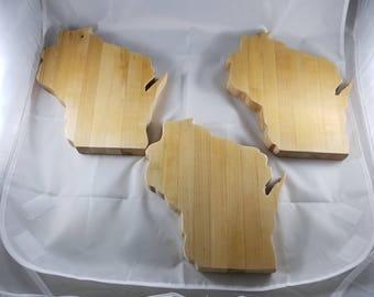 "Wisconsin Shaped Butcher Block Cutting Boards 9""x8""x1"" (Seasoned 3 Times)"
