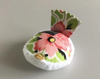 Pincushion Pink and Green Floral Bird Pincushion Floral Pin Keep Kawaii Bird