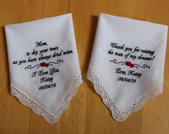 Wedding handkerchief for Mother of the Bride & Groom Gift, Set of 2,Mom,To dry your tears,Thank you for raising the man of my dreams. LS0F38