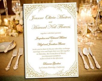 "DIY Wedding Invitation Template ""Lavanderia"" Golden Sands - Printable Wedding - Vintage Wedding Invitation Download - Wedding Printable"
