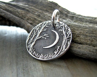 Forest Moon Mini Edition, Personalized Fine Silver Pendant, Handmade in Recycled Silver From Original Carving, by SilverWishes