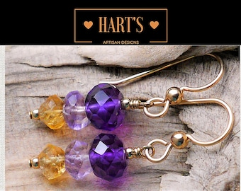 Amethyst Citrine 14K Gold Earrings