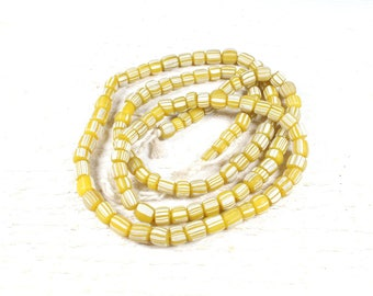 10 craft from Java recycled glass beads yellow striped +/-4 to 6mm