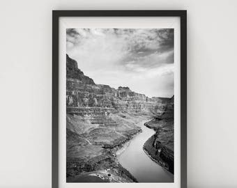 Black and White Photo, Black and White Wall Art, Printable, Printable Art, Instant Digital Download, Grand Canyon, Colorado River, Nevada