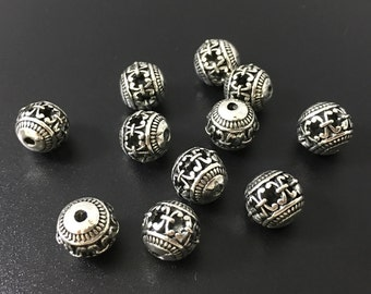 20 pcs x 10mm Antique Silver Round Beads ,Tibetan beads ,Spacer Beads