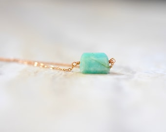 amazonite on chain 'stacking' bracelet. natural faceted amazonite bracelet on chain. teal blue amazonite bracelet. rose gold chain
