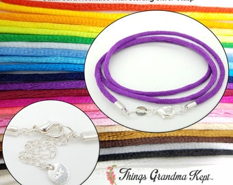 Satin Cord Necklace With Sterling Silver Clasp, 25 Colors! Your Choice of Lengths