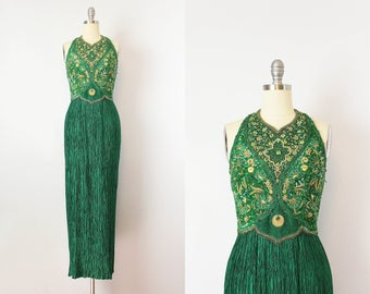 vintage 80s MARY MCFADDEN Couture dress / 1980s green gold pleated beaded dress / plisse fortuny pleat evening dress / sequined halter dress