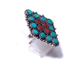 Silver multipierres turquoise and coral ring