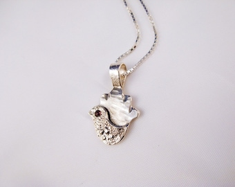 Bird on Hamsa sterlingSilver Necklace - Hand sterling Silver Necklace