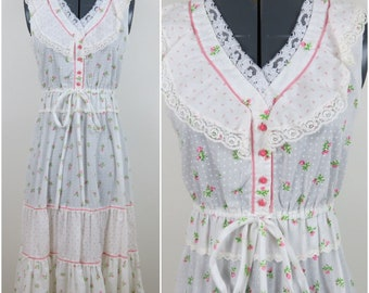 Vintage 1970s Pink & White Calico Tiered Peasant Dress - Bust 34 (B1)