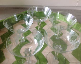 Antique Crystal Coupes - set of 5