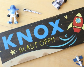 Personalized Name Sign, Kids Name Plaque, Wooden Name Sign, Rocket Decor, Space Decor Kids, Space Room Decor, Personalized Space