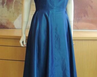 1950s Teal Blue Taffeta Party Dress