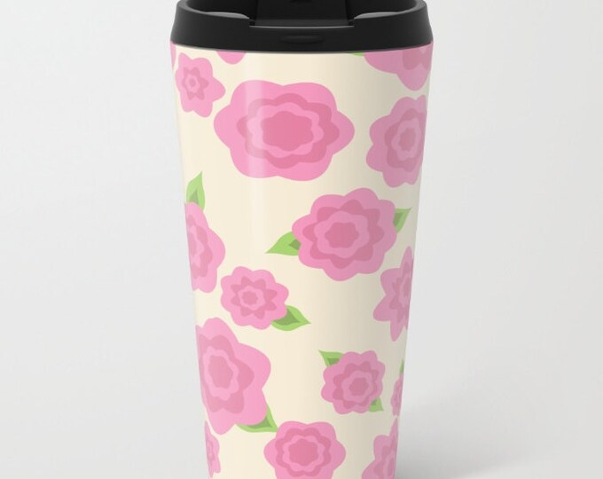 Pink Flower Travel Mug Metal - Coffee Travel Mug -  Hot or Cold - 15oz Mug - Stainless Steel - Made to Order