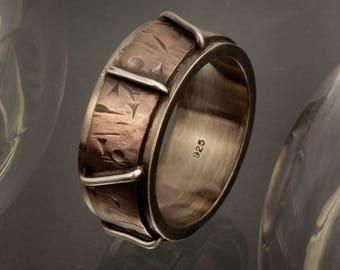 Men's ring - Men's Band - Hammered Ring - Rustic men's ring - Silver Copper Ring - Husband Gift- Gift for man - Boyfriend Gift - RS-1190