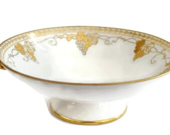 Antique Vintage Nippon Footed Handled Porcelain Compote Bowl White & Hand Painted Gold Gilt Grapevines