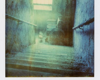 Polaroid Print - Abandoned Hospital Wheelchair/Stairs