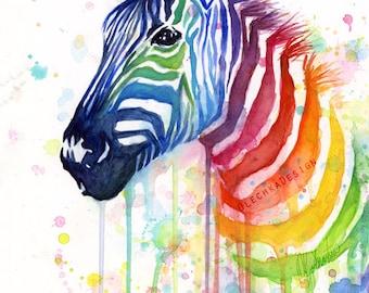 Zebra Watercolor Rainbow Painting Giclée Print, Zebra Art, Zebra Painting, Ode to Fruit Stripes; Colorful Animal Art, Whimsical Animal Art
