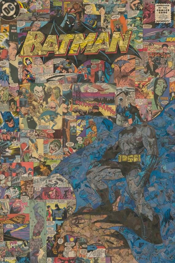 Batman cubierta Collage impresión de Giclee
