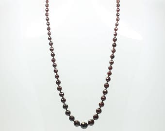 Art Deco Style Sterling Silver Gold Plate Garnet Graduated Beaded Necklace