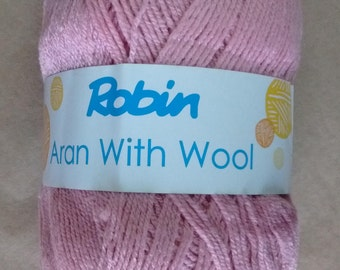 WOOL - Robin aran wool - 400g - dusky pink - wool - yarn - rationed - pale pink - aran - washable - free UK delivery - knitting - crochet