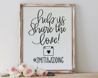 CUSTOM WEDDING HASHTAG sign, share the love, instagram wedding sign
