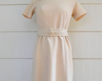 Vintage Belted Dress, Home Made, Ribbed Double Knit Dress, Almond Color, circa 1960s