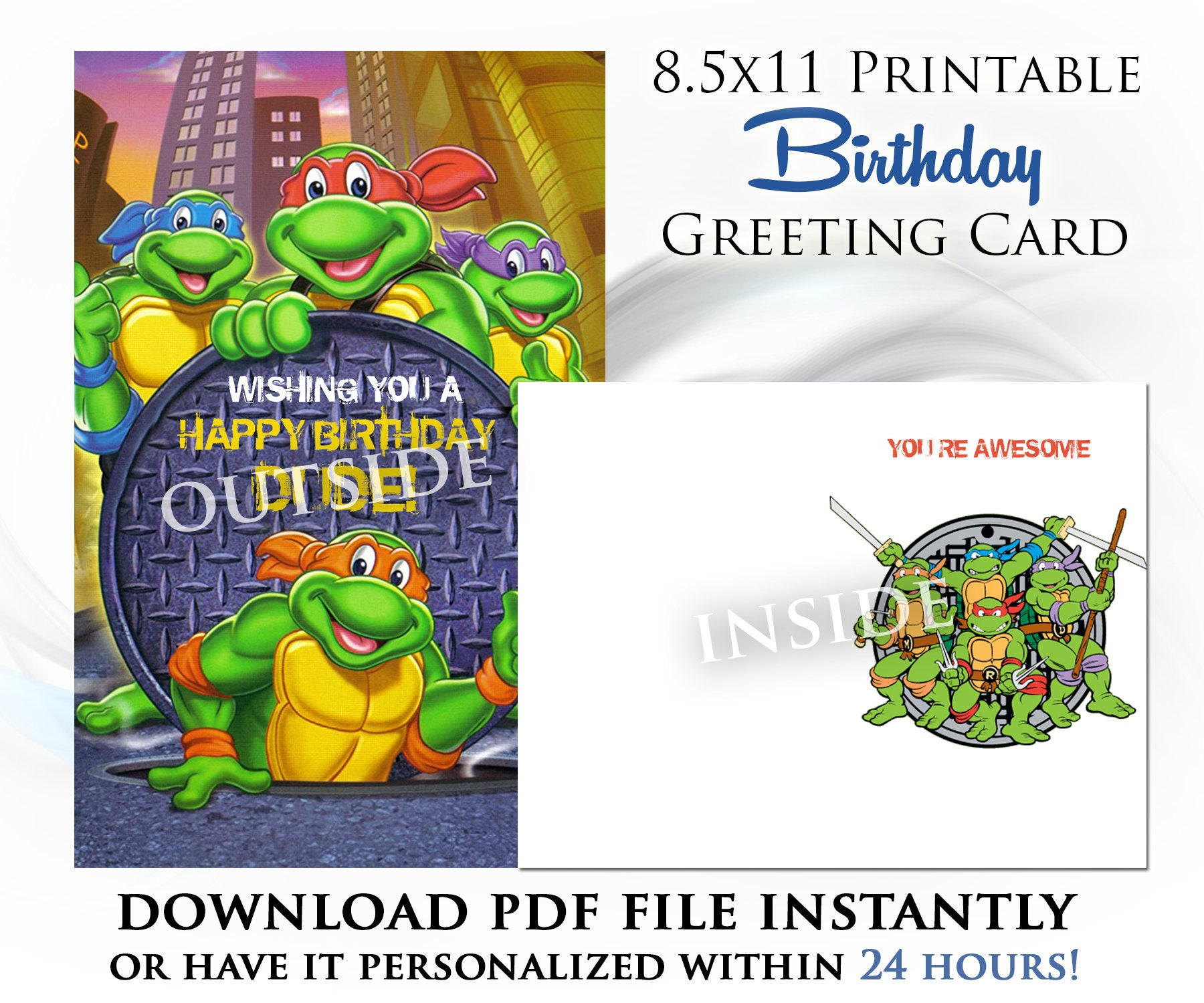 Teenage Mutant Ninja Turtles Printable Digital Birthday Card