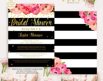 Kate bridal shower invitation, Kate invitation, Floral Spade bridal shower invitation, Kate bridal shower invitation, Spade invitation
