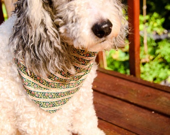 "Dog Bandanna Size Medium - Cotton - Dog Scarf -Dog Clothing - Dog Apparel - Puppy Bandana  8 3/4"" by  28"