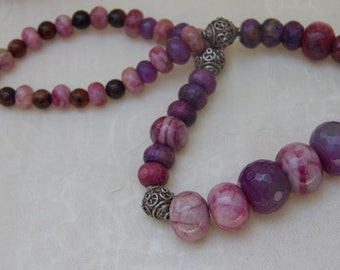 Necklace:  Purple lavender ruby pink agate necklace, romantic, mother's day OOAK