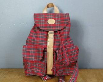 Large red tartan backpack / 90s  tartan rucksack / vintage checked back purse / retro backback handbag / red tartan / grunge backback /