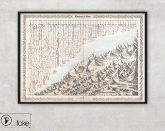 Chart of Mountains and Rivers, large wall map Archival Fine Art print - 081