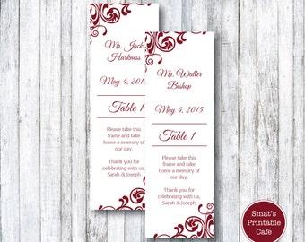 Flourish Wedding Photo Booth Inserts Template DIY Printable - Flourish Theme - Editable - Edit in Microsoft Word Format - Burgundy / Wine