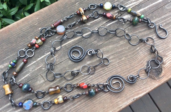 Gypsy Soul...Double Strand for Czech Beads and handmade steel links #queenebead