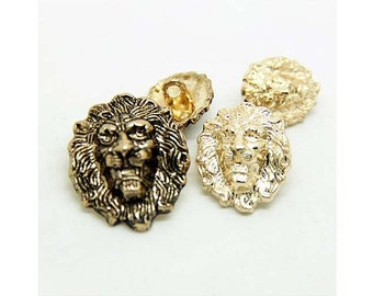 6 Pcs 0.51~0.98 Inches Retro Gold Lion Head Metal Shank Buttons For Fashion Suits Coats