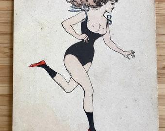 Vintage art postcard risque comic postcard french wonan lady running flapper girl boudoir outfit