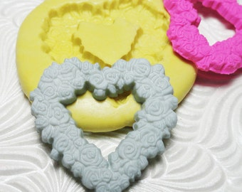 FLORAL FLOWER HEART  Mold Flexible Silicone Push Mold for Resin Wax Fondant Clay Fimo Ice 5221