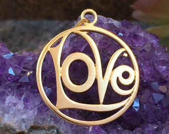 Love Charm, Love Pendant, Gold Love Charm, Gold Love Pendant, Openwork Love Charm, Valentine's Charm