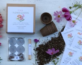 Gardening Kit pink flower seeds diy kit organic garden gift for women gift for grandma gift for mom cut flowers annual flowers perennial