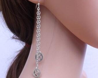 Steampunk earrings, cogs earrings, gear earrings, chain earrings, steampunk jewellery, cyberpunk earrings, steam punk earrings