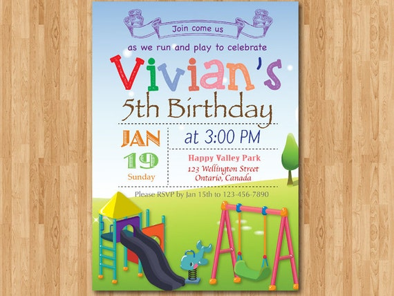 Playground birthday invitation kids park birthday party filmwisefo