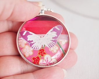 butterfly necklace, butterfly pendant, chiyogami paper jewellery, pink & ruby butterfly necklace