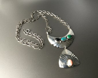 Sterling Silver Necklace with Saw Tooth Bezel Set Onyx Turquoise Malachite and Angle Skin Coral - Native American Signed