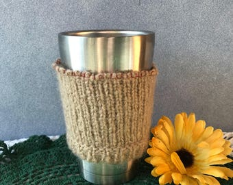 Mohair Coffee Cup Cozy, Reusable Heat Sleeve from a Repurposed Sweater, Eco Chic Mug Glove, No Fabric Scrap Left Behind