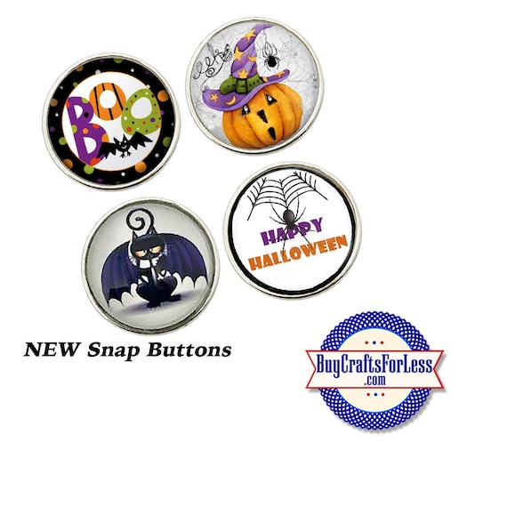 SALE! SNaP HALLOWEEN Buttons, 18mm INTERCHaNGABLE Buttons, 4 NeW designs +FREE Shipping & Discounts