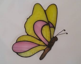 Pink and Yellow Stained Glass Butterfly