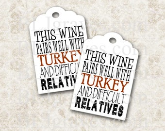 Gift Tags Wine Tags Thanksgiving Party Favor Treat Bag Tag Housewarming Gift T075